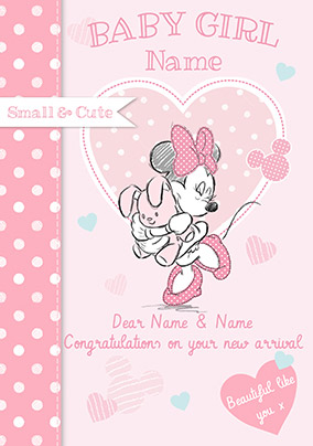 Disney Baby Minnie New Baby Card - Baby Girl Congrats
