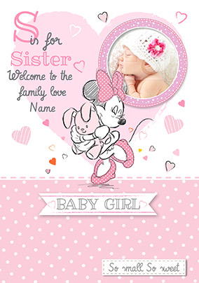 Disney Baby Minnie Mouse New Baby Card - S is for Sister  Sister