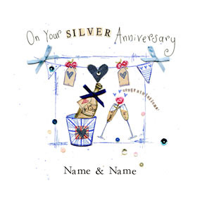 4151c2ca 25th Silver Wedding Anniversary Cards | Funky Pigeon