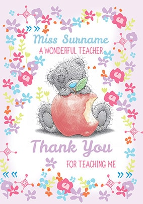 A Wonderful Teacher Thank You Card - Me To You