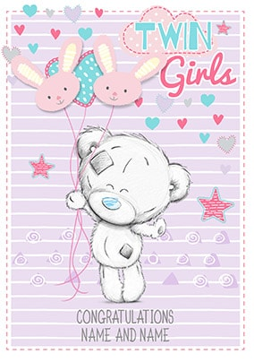 Twin Girls Congratulations Personalised Card NO Preview Image Is Not Found