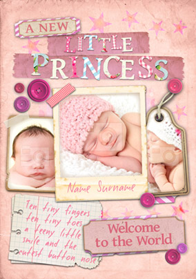 Paper Moon - New Baby Card Little Princess 3 Photo Upload