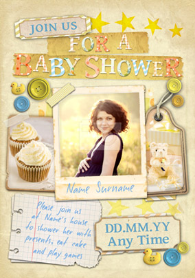 Paper Moon - Baby Shower Invitation Photo Upload