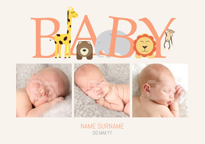 Animal Magic - New Baby Card 3 Photo Upload Landscape