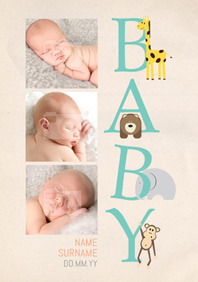 Animal Magic - New Baby Card 3 Photo Upload Portrait