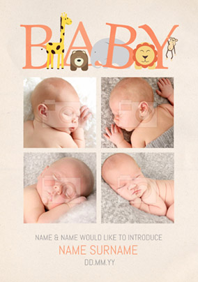 Animal Magic - New Baby Card Introducing Baby