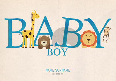 Animal Magic - New Baby Card Baby Boy