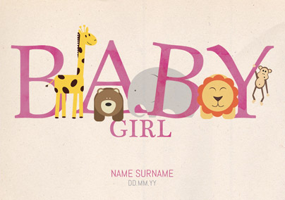 Animal Magic - New Baby Card Baby Girl