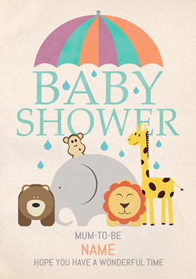 animal magic baby shower mum to be - Baby Shower Cards