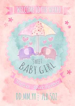 Button Nose - New Baby Card Sweet Baby Girl