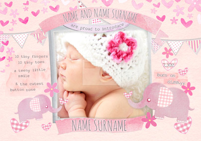 Button Nose - New Baby Card Pink Photo Upload