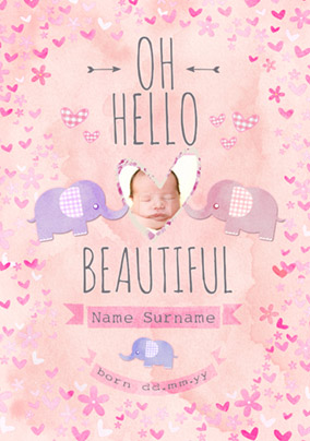 Button Nose - New Baby Card Hello Beautiful Photo Upload