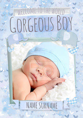 Button Nose - New Baby Card Gorgeous Boy Photo Upload