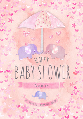 button nose baby shower card little girl - Baby Shower Cards