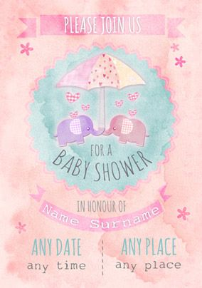 Button Nose - Baby Shower Invitation Cute Elephants