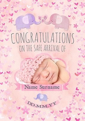 Button Nose - New Baby Card Pink Congratulations Photo Upload