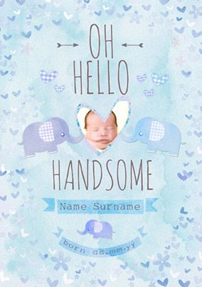 Button Nose - New Baby Card Hello Handsome