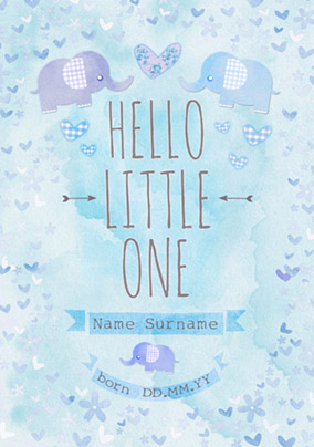 Button Nose - New Baby Card Hello Little One Blue