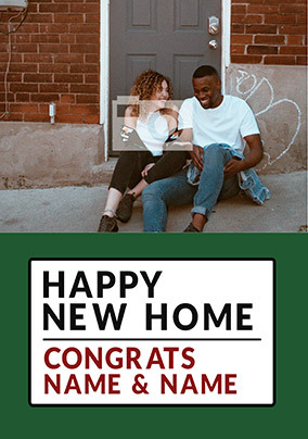 Happy New Home Street Sign Photo Card