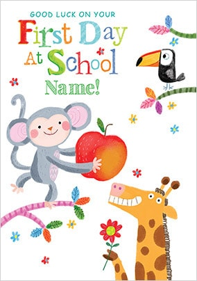 Good Luck First Day At School Personalised Card