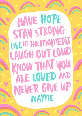 Never Give Up Personalised Card