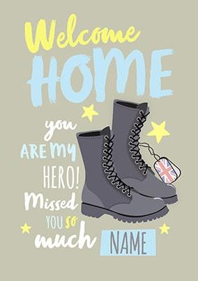 Welcome home my hero greeting card funky pigeon welcome home my hero greeting card m4hsunfo