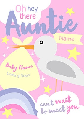 Auntie - Can't Wait To Meet You Personalised Card