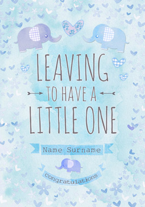 Button Nose - Leaving to have a Baby Card Little Boy Blue