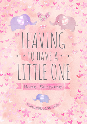 Button Nose - Leaving to have a Baby Card Little Girl Pink
