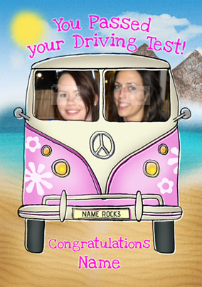 Driver's Seat - Driving Congratulations Card Photo Upload Pink Camper
