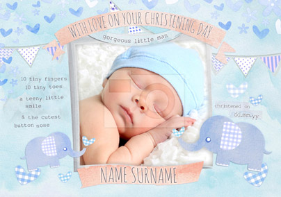 Button Nose - Christening Card Photo Upload Baby Boy