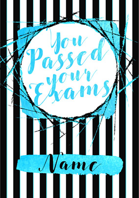 Glam Rock - Exam Congratulations Card You Passed Blue