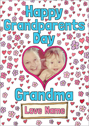 Look Who's Drawing - Grandparents' Day Card Grandma Heart Photo Upload