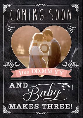 Baby Girl coming soon Photo Upload Card