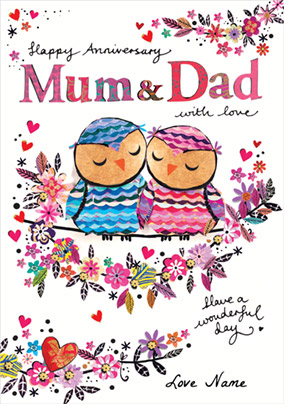 Artisan - Mum & Dad Anniversary Card with Love