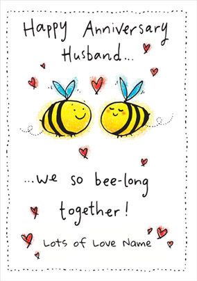 Punderful Life - Husband Anniversary Card Bee-long together