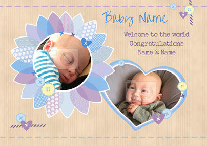 Patchwork - New Baby Card Baby Boy Photo Upload