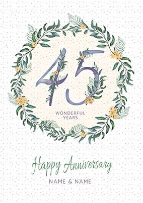 45 Wonderful Years Personalised Anniversary Card