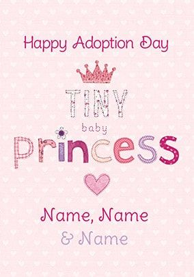 Happy Adoption Day Baby Princess Personalised Card