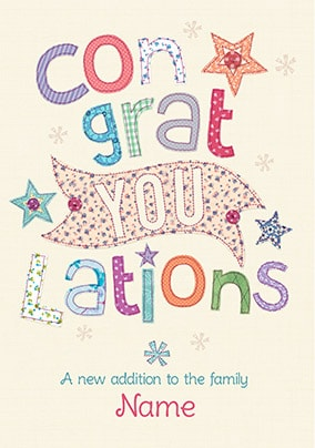 Congrats - A New Addition Personalised Card