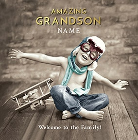 Grandson - Welcome To The Family Personalised Card