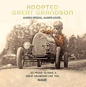 Adopted Great Grandson Personalised Card