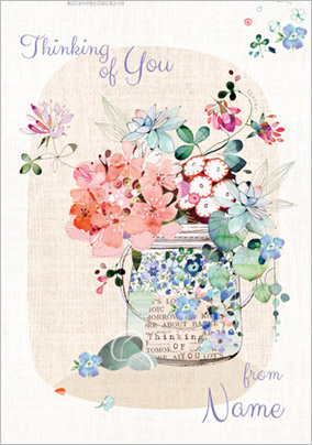 Bluebell Woods - Thinking of You Card Jar of Wild Flowers