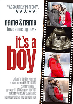 It's a Boy Photo Upload Pregnancy Announcement Card