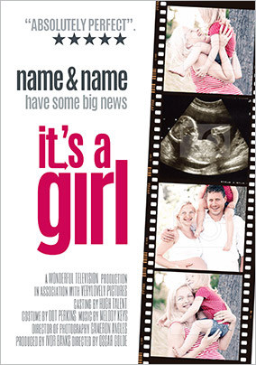 It's a Girl Photo Upload Pregnancy Announcement Card