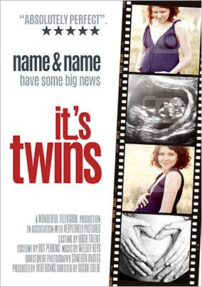 It's Twins Photo Upload Pregnancy Announcement Card
