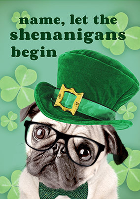 Irish Pug Personalised St. Patrick's Card
