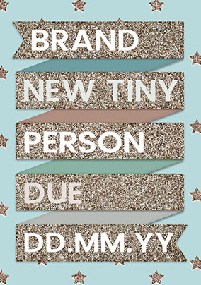 Brand New Tiny Person Blue Announcement Card