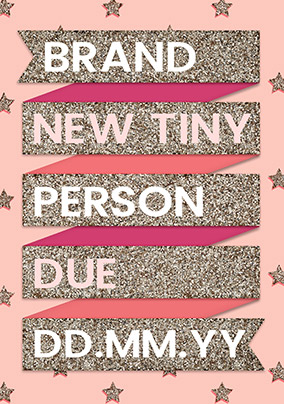 Brand New Tiny Person Pink Announcement Card