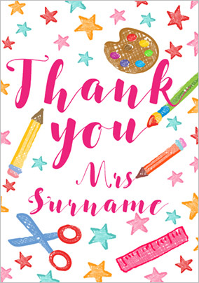Dinky Doodles - Thank You Teacher Card School Accessories